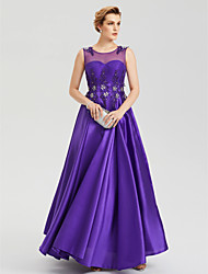 A-Line Jewel Neck Floor Length Satin Evening Party Formal Dress with Crystal Applique Pleats