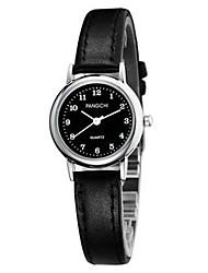 Mulheres Relógio de Moda Quartzo Impermeável Couro Banda Preta