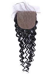 Cierre virginal brasileño del pelo del beata 4 * 4inch cierre de seda del cierre natural brasileño rizado profundo del pelo 8-20inch largo
