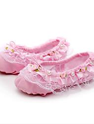 "Kids' Ballet Canvas Flats Practice Flat Heel Blushing Pink Ruby Almond Black White Under 1"""