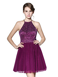 Honeymoon Cocktail Party Dress - Beautiful Back Sparkle & Shine Princess Halter Short/Mini Tulle Stretch Satin with Sequins