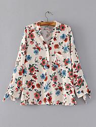 Для женщин На выход На каждый день Лето Рубашка Рубашечный воротник,Секси Простое Уличный стиль Цветочный принт Длинный рукав,Хлопок,