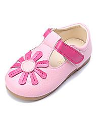 Girls' Sneakers Comfort First Walkers PU Spring Fall Casual Dress Comfort First Walkers Magic Tape Flower Flat HeelBlushing Pink Yellow