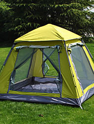 3-4 personnes Tente Unique Tente pliable Une pièce Tente de camping 1500-2000 mm Ruban adhésif argenté Taffetas en PolyesterCamping &
