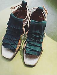 Damen High Heels Pumps Leder Sommer Herbst Normal Pumps Blockabsatz Dunkelgrün 2,5 - 4,5 cm