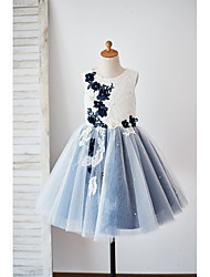 A-Line Knee Length Flower Girl Dress - Lace Tulle Sleeveless Jewel Neck with Applique by thstylee