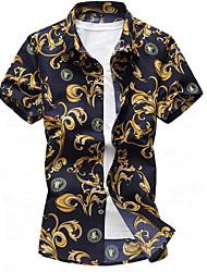 Masculino Camisa Social Casual Trabalho Simples Sólido Floral Estampado Algodão Outros Colarinho de Camisa Manga Curta