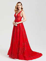 TS Couture Formal Evening Dress - Sparkle & Shine Open Back Celebrity Style A-line V-neck Court Train Tulle with Sequins