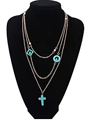 New Layered Necklaces Cross Multiple Blue Multi Chain Layer Pendant Necklace for Women Gold Color Daily Party Movie Jewelry