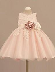 Vestido de baile curto / mini vestido de menina de flor - organza pérola sem mangas com pérola