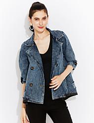 Mulheres Jaquetas Jeans Casual / Tamanhos Grandes Simples / Moda de Rua Primavera / Outono,Sólido Azul Poliéster Colarinho de CamisaManga