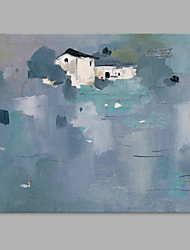 IARTS® Hand Painted Modern Abstract Town Center Houses Oil Painting On Canvas with Stretched Frame Wall Art For Home Decoration Ready To Hang