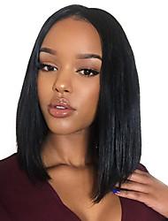 Premier ®Light Yaki Glueless Short Bob Haircut Front Lace Wig Brazilian Virgin Human Hair Wigs for Women