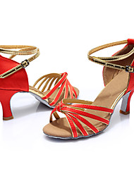 Women's Latin Silk Sandals Indoor Customized Heel Ruby Customizable