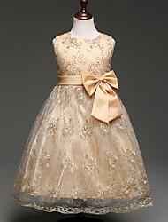 бальное платье длиной до колена цветок девушка платье - органза без рукавов жемчужина шея с bowknot от ydn
