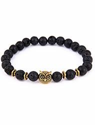 Owl Buddha Bead Bracelet Volcanic Stone Energy Natural Stone Bracelet