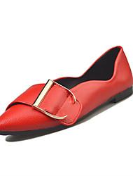 Women's Flats Comfort PU Spring Casual Walking Applique Flat Heel Black Light Grey Ruby Light Brown 2in-2 3/4in