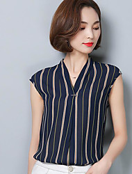 Women's Casual/Daily Simple Blouse,Striped V Neck Sleeveless Others