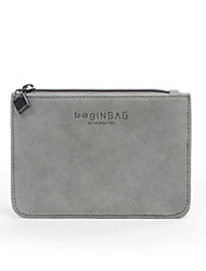 Unisex Card & ID Holder Other Leather Type All Seasons Casual Baguette Zipper Dark Gray