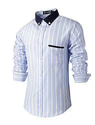 Men's Wedding Party Beach Holiday Going out Casual/Daily Work Club Vintage Simple Chinoiserie All Seasons Shirt,Striped Shirt CollarLong