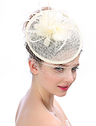 Mujer Primavera/Otoño Verano Sombrero Clásico Moderno Moda Modern Lino Malla de tul Plumas Sombrero Playero,Sólido