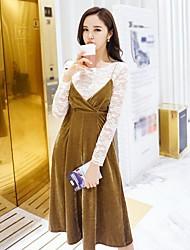 Tee-shirt Femme,Couleur Pleine Vacances Sortie Décontracté / Quotidien Soirée Sexy Vintage simple Printemps Automne Manches LonguesCol