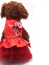 Cachorro Vestidos Roupas para Cães Casual Sólido Roxo Vermelho Azul