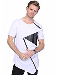 Men's Fashion Personality Zipper Design Hip Hop Short Sleeved T-Shirt Cotton Spandex