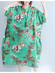 Для женщин На каждый день Свободный силуэт Платье Цветочный принт,Круглый вырез До колена С короткими рукавами Полиэстер Лето Со
