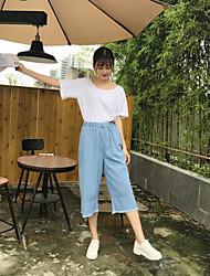 Feminino chinoiserie Micro-Elástica Perna larga Calças,Perna larga Sólido