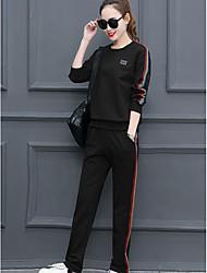 Sweat à capuche Pantalon Costumes Femme,Couleur Pleine Sports simple Printemps Automne Manches longues Col Arrondi