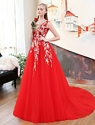 A-Line Princess V-neck Court Train Lace Satin Tulle Formal Evening Wedding Party Dress with Beading Embroidery by QZ
