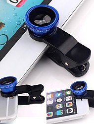 Clip universal 3in1 no kit de lente da câmera grande angular olho de peixe macro para telefone inteligente