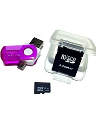 4GB MicroSDHC TF Memory Card with 2 in 1 USB OTG Card Reader Micro USB OTG