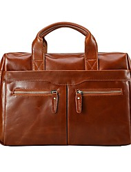 Men Bags All Seasons Cowhide Briefcase with Zipper for Casual Office & Career Brown