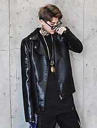 Для мужчин На выход На каждый день Весна Осень Кожаные куртки Воротник Питер Пен,Простой Активный Уличный стиль Панк & Готика Однотонный