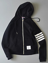Women's Casual/Daily Hoodie Solid Striped Hooded Micro-elastic Polyester Long Sleeve Spring