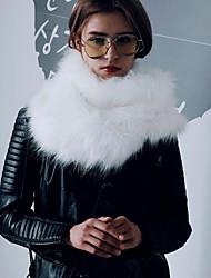 Mujer Otoño Invierno Piel Sintética Rectángulo Bufanda Circular,Sólido