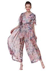 Femme simple Chic de Rue Taille Haute Sortie Décontracté / Quotidien Vacances Combinaison-pantalon,Ample Fleur Imprimé Eté Automne