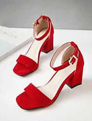 Damen Schuhe PU Frühling Sommer Komfort Sandalen Mit Für Normal Schwarz Beige Rot