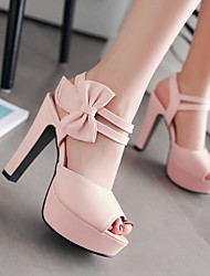 Damen Schuhe PU Sommer Komfort High Heels Blockabsatz Peep Toe Mit Für Normal Schwarz Violett Rosa