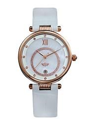 Kadın's Moda Saat Quartz Deri Bant Beyaz Kırmızı