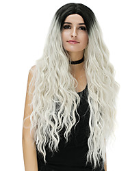 Cheap Women Synthetic Wig Long Blue Brown Rose/Green Silver Blonde Pink Loose Wave Ombre Hair Middle Part Party Costume Wigs For Halloween
