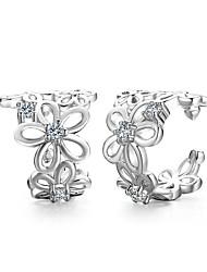 Homens Mulheres Brincos com Clipe Coração Adorável Estilo simples Clássico Elegant bijuterias Moda Prata Chapeada Forma Geométrica Jóias