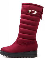 Feminino Botas Conforto Botas de Neve Inverno Pele Nobuck Casual Preto Vermelho Azul 7,5 a 9,5 cm