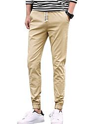 Homme simple Taille Normale Micro-élastique Jogger Chino Pantalon,Mince Couleur Pleine