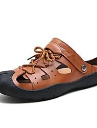 Herren Sandalen Komfort Sommer Echtes Leder Leder Wasser-Schuhe Normal Flacher Absatz Schwarz Dunkel Braun Hellbraun Flach
