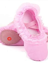 Enfants Ballet Toile Plates Sandales Entraînement Talon Plat Rouge Rose Chair
