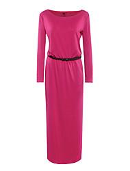 Tee Shirt Robe Femme Décontracté / Quotidien simple,Couleur Pleine Col Arrondi Maxi Manches Longues Polyester Automne Taille Normale