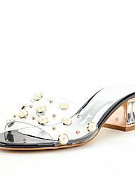 Для женщин Сандалии Обувь через палец ПВХ Лето Осень Свадьба Для праздника Для вечеринки / ужина Кристаллы Бусины Искусственный жемчуг